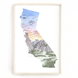 California Watercolor Print, Yosemite National Park Art, California State, California Shape Wall Art