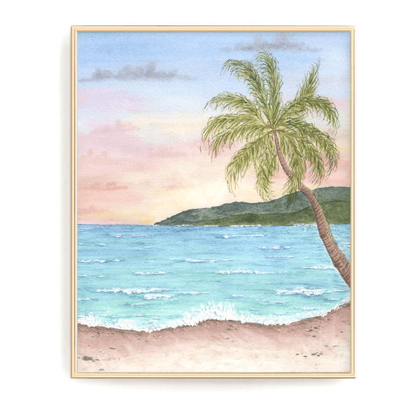 Tropical Beach Watercolor Painting, Beach Art,  Beach Gift, Vacation Art Souvenir, Beach Seascape - Emilie Taylor Art