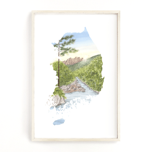 South Korea Watercolor Print, South Korea art Painting, Seoraksan National Park, South Korea Gift - Emilie Taylor Art
