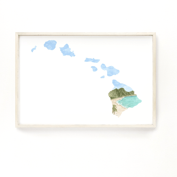 Hawaii Watercolor Painting, Hawaii State Art, Home State Print, Hawaii Souvenir, Hawaii Map Art - Emilie Taylor Art