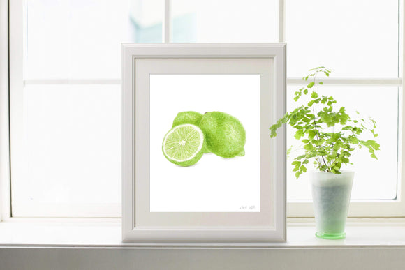 Watercolor Lime Print, Lime Painting, Dining Room Decor, Fruit Print, Fruit Art, Watercolor Lime - Emilie Taylor Art