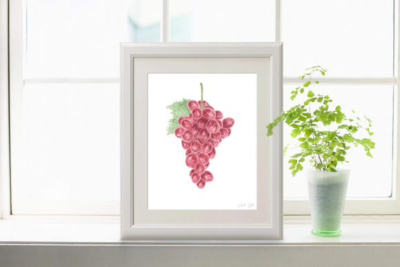 Watercolor Grapes Print, Kitchen Art, Grapes Decor, Fruit Print, Grape art vineyard Gift, Fruit Art - Emilie Taylor Art