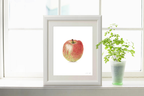 Watercolor Apple Painting, Apple Print, Dining Room Decor, Fruit Painting, Realistic Food Art, - Emilie Taylor Art