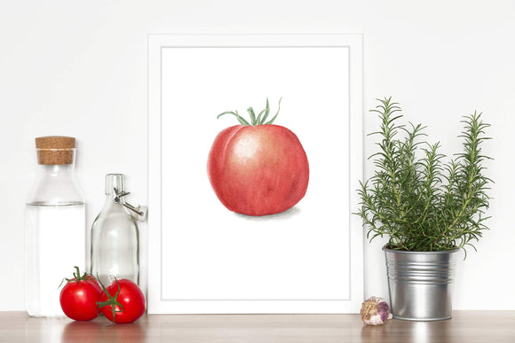 Watercolor Tomato Painting, Vegetable Print, Fruit Art, Gardener Gift, Watercolor Tomato print - Emilie Taylor Art