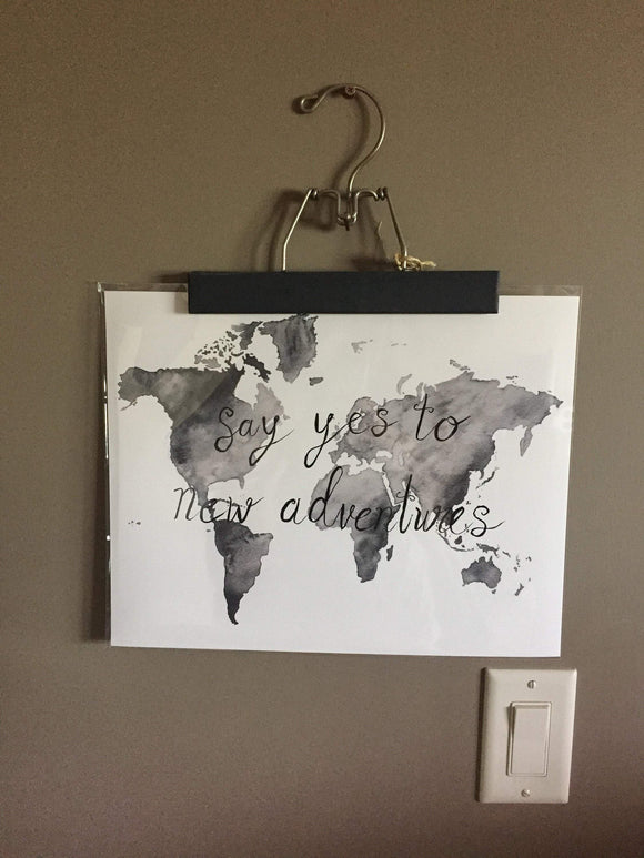 Custom Script World Map, Custom saying painted on map, World Map Poster with Custom words, - Emilie Taylor Art