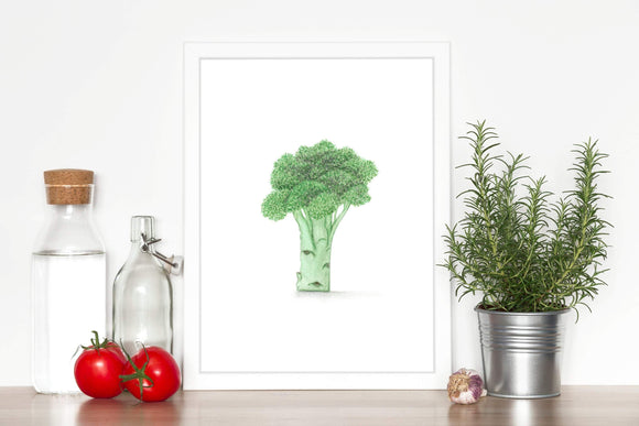 Watercolor Broccoli Painting, Kitchen Art, Vegetable Print, Watercolor Garden, Broccoli Art - Emilie Taylor Art