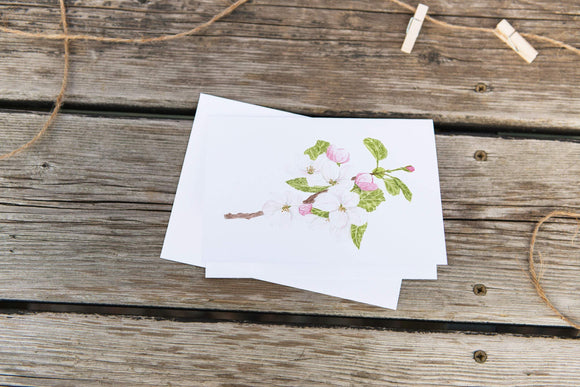 Watercolor Greeting Card, Floral Card, Flower Greeting Card, Flower Art, Apple blossom Art - Emilie Taylor Art