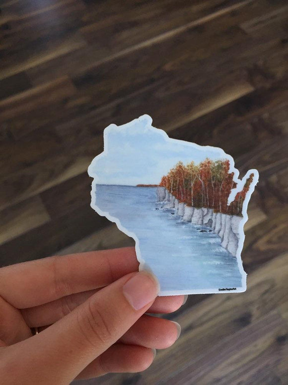 Wisconsin Decal, Watercolor Wisconsin Sticker, WI Car Decal, Home State Decal, State Sticker - Emilie Taylor Art