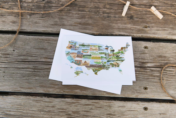 Watercolor Greeting Card, USA Card, Map Card, US Greeting Card, United states art Card - Emilie Taylor Art