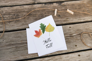 Watercolor fall Card, Hello Fall Card, Fall Leaves Card, Fall Greeting Card, Thanksgiving Card - Emilie Taylor Art
