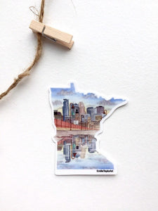 Minneapolis Decal, Watercolor Minnesota Sticker, MN Car Decal, State Sticker, Waterproof MN Decal - Emilie Taylor Art