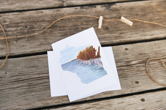 Wisconsin Greeting Card, Wisconsin Notecard, Wisconsin Souvenir, WI Greeting Card,  Home State Card - Emilie Taylor Art