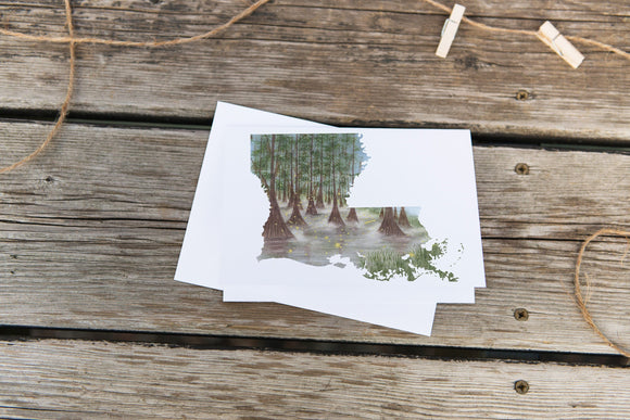 Louisiana Greeting Card, Louisiana Notecard, LA Greeting Card, Watercolor state card,  LA card art - Emilie Taylor Art