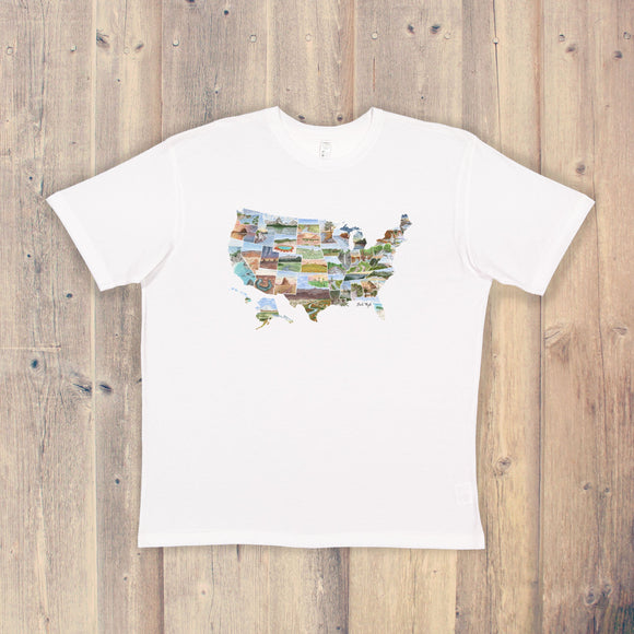 US Map T-shirt | USA Tee | Home State Shirt | America Pride Shirt | 50 States T-shirt | Watercolor US Art Tee