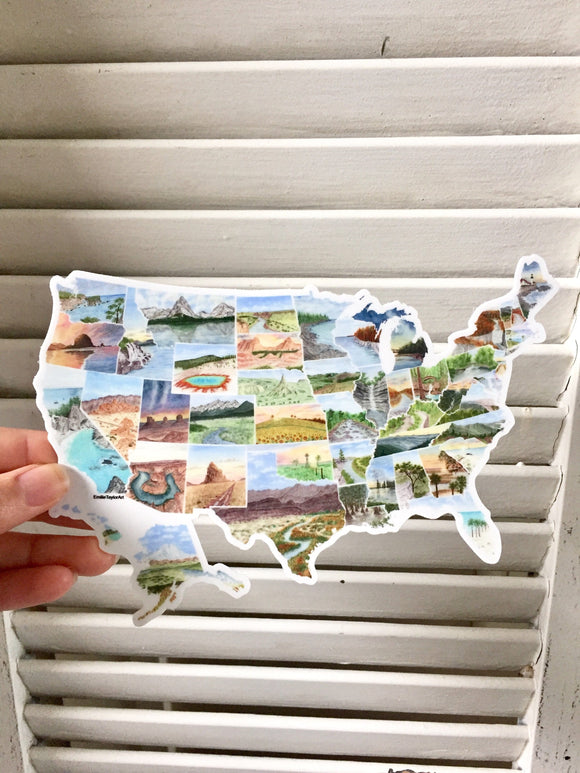 Large USA Map Decal, Watercolor US Sticker, United States Car Decal, US Decal, US bumper Sticker - Emilie Taylor Art
