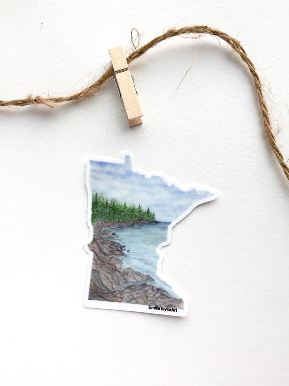 Minnesota Decal, Watercolor Minnesota Sticker, MN Car Decal, North Shore MN, Waterproof MN Decal - Emilie Taylor Art