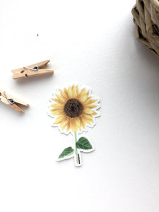 Sunflower Decal, Watercolor SunFlower Sticker, Mini Sunflower Decal, Flower Decal, Sunflower Sticker