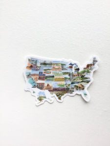 Mini USA Map Decal, Watercolor US Sticker, United States Car Decal, US Map Decal, State Sticker - Emilie Taylor Art
