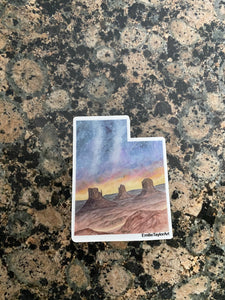 Utah Decal, Watercolor Utah Sticker, UT Car Decal, Monument Valley UT