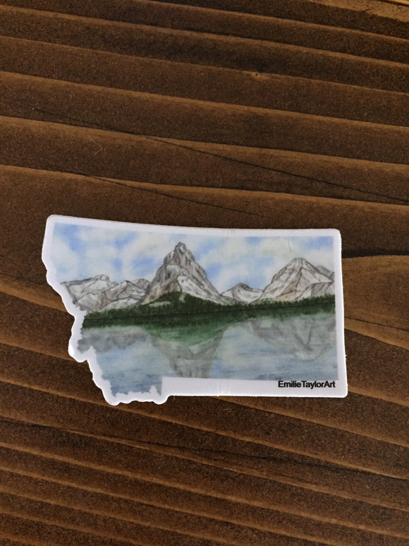 Montana Decal, Watercolor Montana Sticker, MT Car Decal, Home State Decal, State Sticker