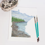 Minnesota Watercolor Painting, MN North Shore Decor, Minnesota State shape art, Minnesota print