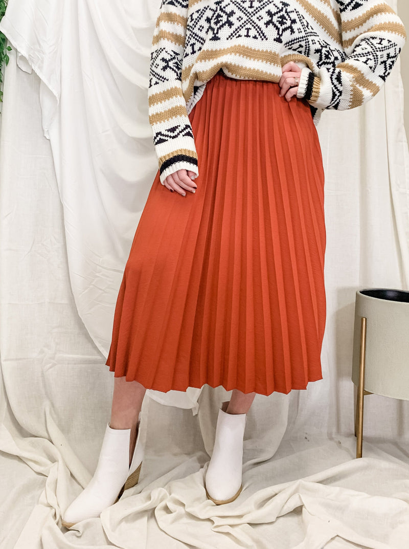 Begin Again Pleated Midi Skirt