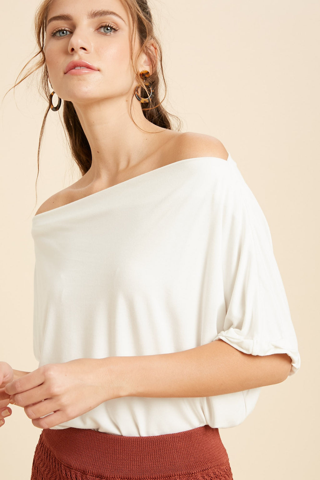 Unfinished Bamboo Top : Ivory