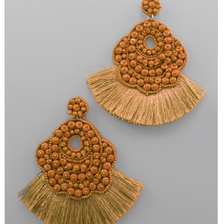 Beaded Oval Tassel Earrings : Camel