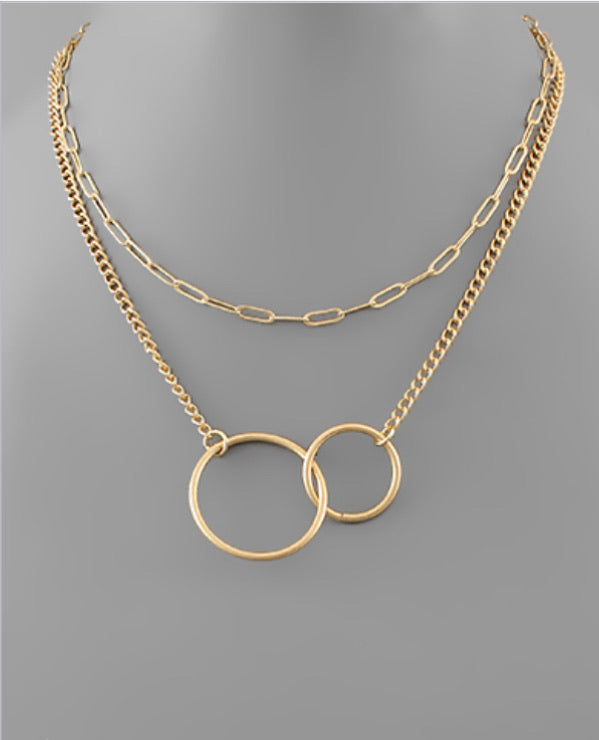 Double Circle Link Layer Necklace