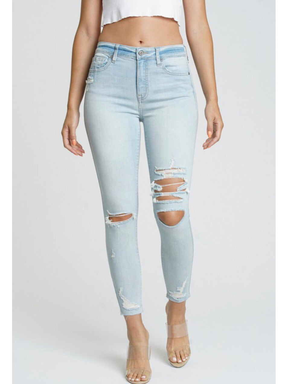 Iced Out High Rise Skinny