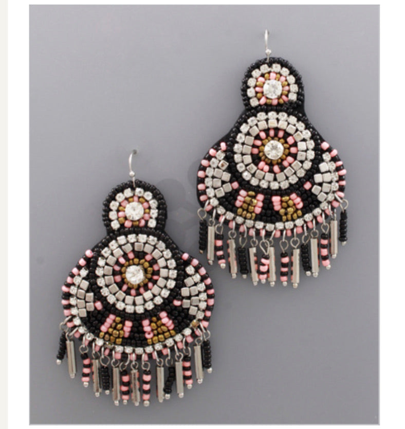 Black and Pink Beaded Tassel Earrings