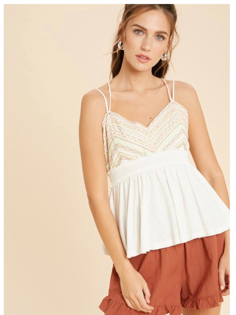 Embroidered Babydoll Knit Tank