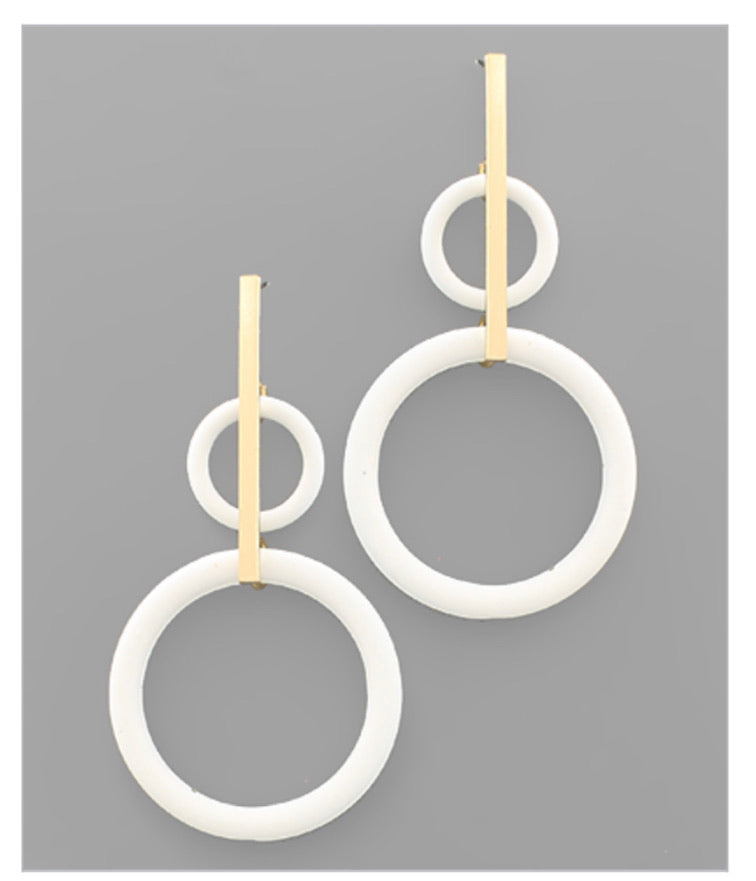 Double Ring and Bar Earrings: White