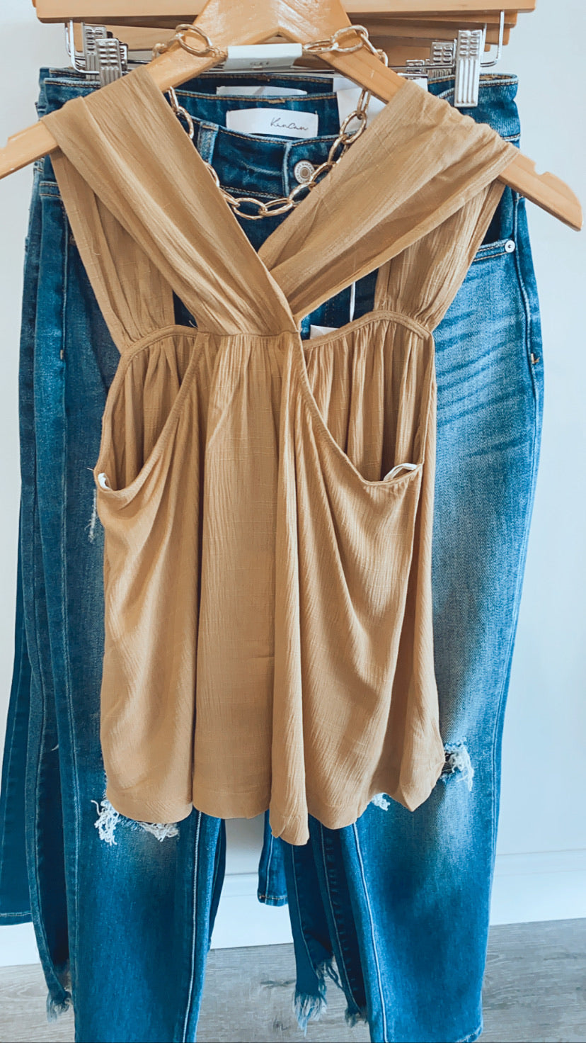 Radiant Style Sleeveless Top: Wheat