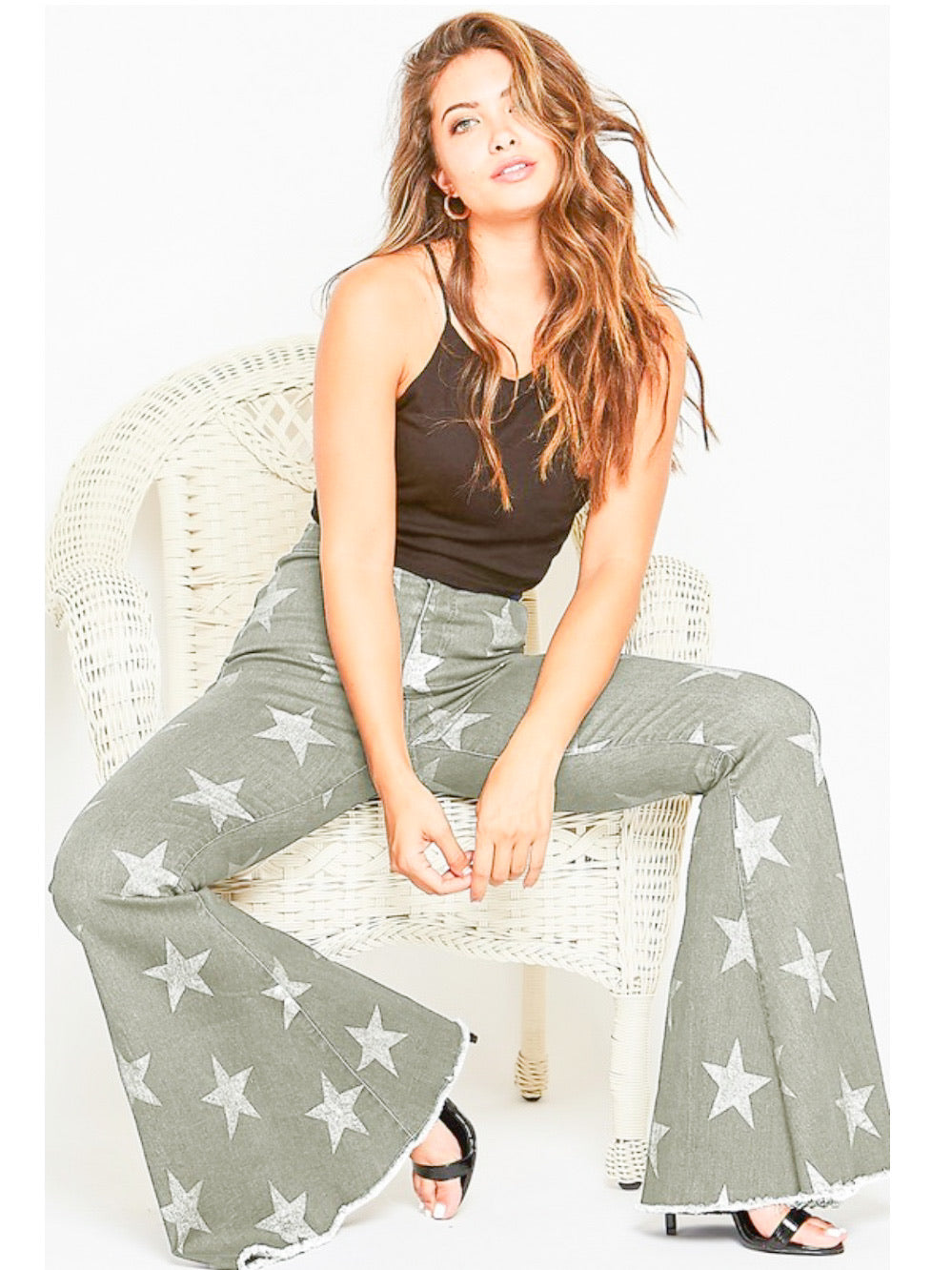 Starry Nights Raw Hem Flare Pants