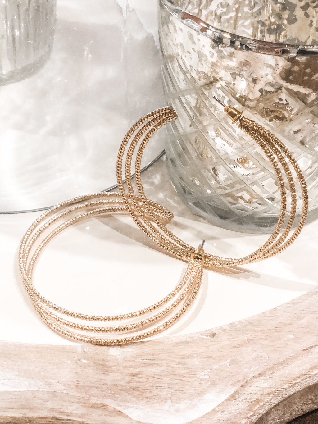Gold Tri-Hoop Earrings