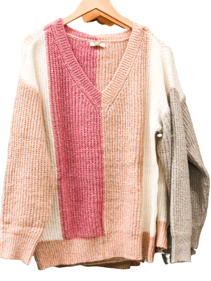 Kori Color Block Sweater: Pink