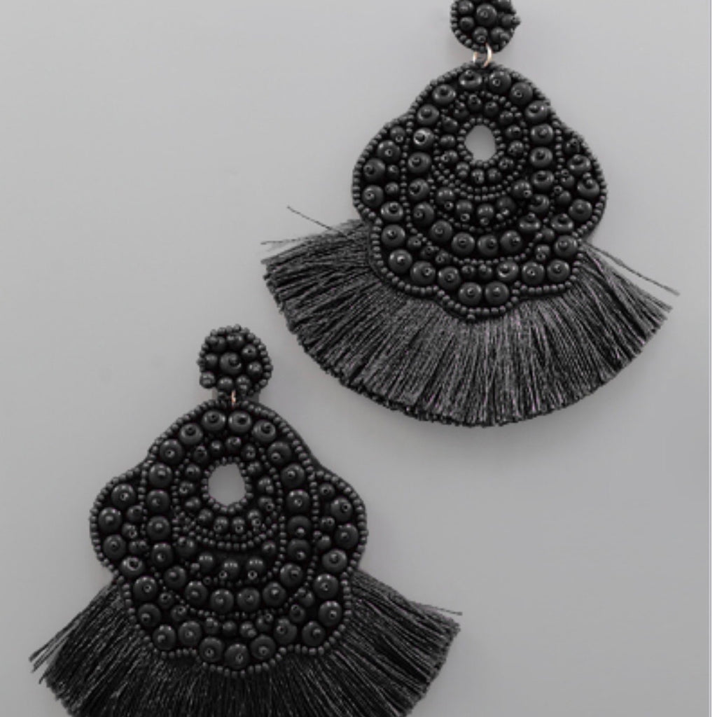 Beaded Oval Tassel Earrings : Black