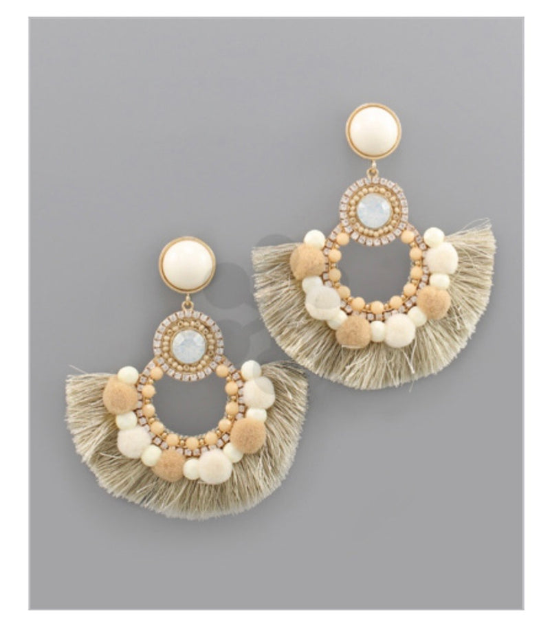 Pompom Circle Earrings: Natural