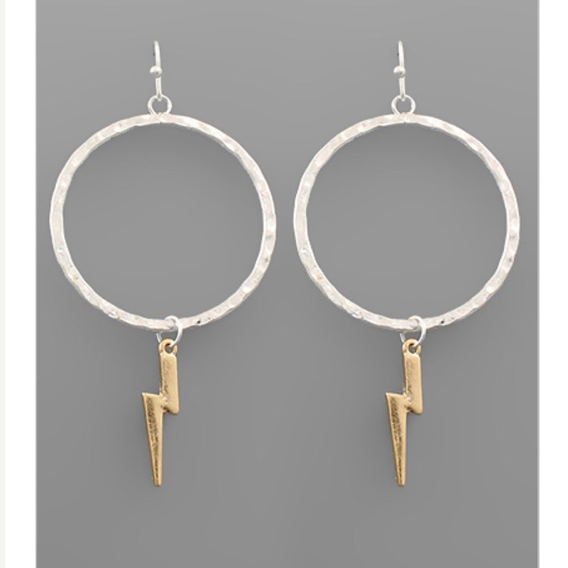 Fast As Lightning Earrings - Worn Silver