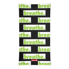"Load image into Gallery viewer, Matcha ""breathe."" blackl Neck Gaiter"