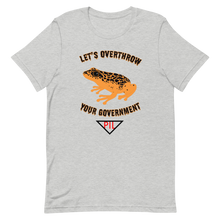 "Load image into Gallery viewer, ""Let's Over Throw Your Government"" Orange Poison Dart Frog Short-Sleeve T-Shirt"