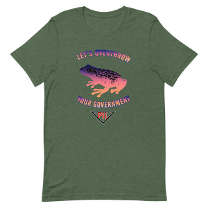 """Let's Overthrow Your Government"" Pur-ink Dart Frog Short-Sleeve  T-Shirt"