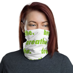 "Matcha ""breathe."" White Neck Gaiter"