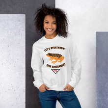 "Load image into Gallery viewer, ""Let's Over Throw Your Government"" Orange Poison Dart Frog Sweatshirt"