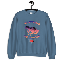"Load image into Gallery viewer, ""Let's Overthrow Your Government"" Pur-ink Dart Frog Sweatshirt"