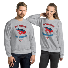 "Load image into Gallery viewer, ""Let's Over Throw Your Government"" Red and Blue Poison Dart Frog Unisex Sweatshirt"