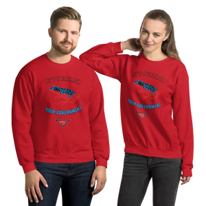 """Let's Over Throw Your Government"" Red and Blue Poison Dart Frog Unisex Sweatshirt"