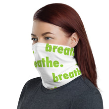 "Load image into Gallery viewer, Matcha ""breathe."" White Neck Gaiter"