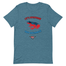 "Load image into Gallery viewer, ""Let's Over Throw Your Government"" Red and Blue Poison Dart Frog Short-Sleeve T-Shirt"